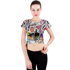 Vintage College Colorful Seamless Pattern Crew Neck Crop Top by Amaryn4rt