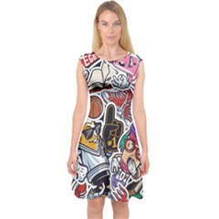 Vintage College Colorful Seamless Pattern Capsleeve Midi Dress