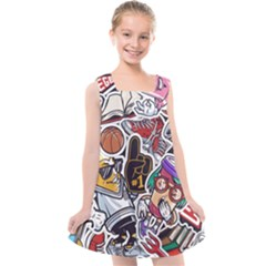 Vintage College Colorful Seamless Pattern Kids  Cross Back Dress by Amaryn4rt