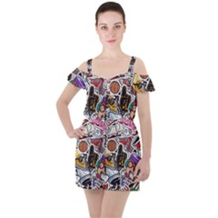 Vintage College Colorful Seamless Pattern Ruffle Cut Out Chiffon Playsuit
