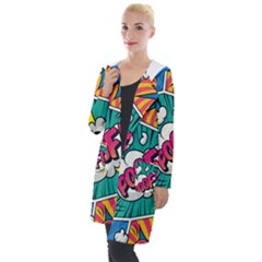 Comic Colorful Seamless Pattern Hooded Pocket Cardigan