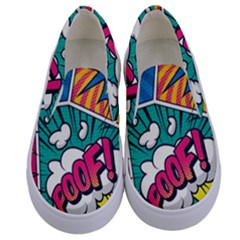 Comic Colorful Seamless Pattern Kids  Canvas Slip Ons