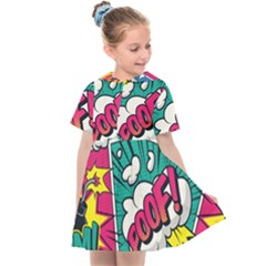 Comic Colorful Seamless Pattern Kids  Sailor Dress