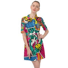 Comic Colorful Seamless Pattern Belted Shirt Dress by Amaryn4rt