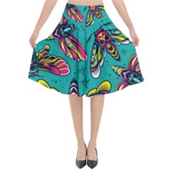 Vintage Colorful Insects Seamless Pattern Flared Midi Skirt by Amaryn4rt
