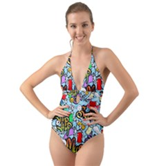 Graffiti Characters Seamless Pattern Halter Cut-out One Piece Swimsuit