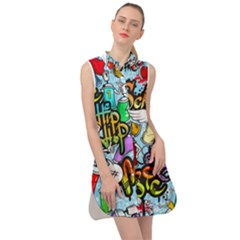 Graffiti Characters Seamless Pattern Sleeveless Shirt Dress by Amaryn4rt