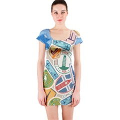 Travel Pattern Immigration Stamps Stickers With Historical Cultural Objects Travelling Visa Immigrant Short Sleeve Bodycon Dress