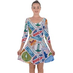 Travel Pattern Immigration Stamps Stickers With Historical Cultural Objects Travelling Visa Immigrant Quarter Sleeve Skater Dress