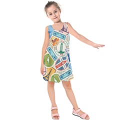 Travel Pattern Immigration Stamps Stickers With Historical Cultural Objects Travelling Visa Immigrant Kids  Sleeveless Dress by Amaryn4rt
