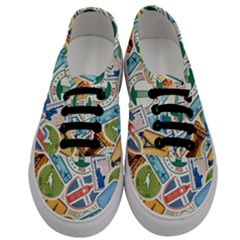 Travel Pattern Immigration Stamps Stickers With Historical Cultural Objects Travelling Visa Immigrant Men s Classic Low Top Sneakers