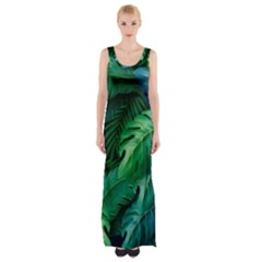 Tropical Green Leaves Background Thigh Split Maxi Dress