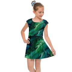 Tropical Green Leaves Background Kids  Cap Sleeve Dress