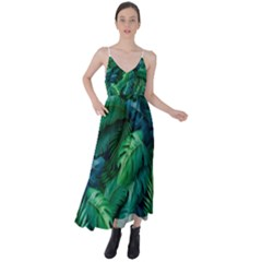 Tropical Green Leaves Background Tie Back Maxi Dress by Amaryn4rt