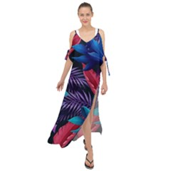 Background With Violet Blue Tropical Leaves Maxi Chiffon Cover Up Dress
