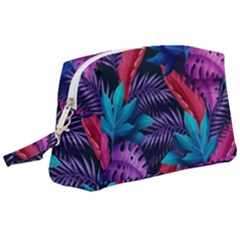Background With Violet Blue Tropical Leaves Wristlet Pouch Bag (large)