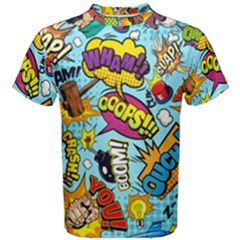 Comic Elements Colorful Seamless Pattern Men s Cotton Tee