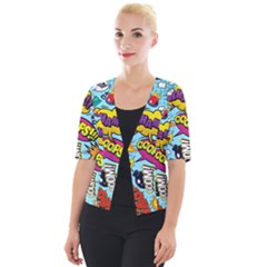 Comic Elements Colorful Seamless Pattern Cropped Button Cardigan