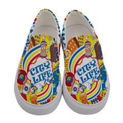 Colorful City Life Horizontal Seamless Pattern Urban City Women s Canvas Slip Ons