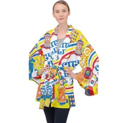 Colorful City Life Horizontal Seamless Pattern Urban City Long Sleeve Velvet Kimono  by Amaryn4rt