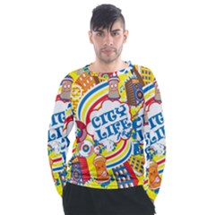 Colorful City Life Horizontal Seamless Pattern Urban City Men s Long Sleeve Raglan Tee