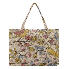 Seamless Pattern With Flower Bird Medium Tote Bag