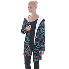 Vintage Tattoos Colorful Seamless Pattern Longline Hooded Cardigan