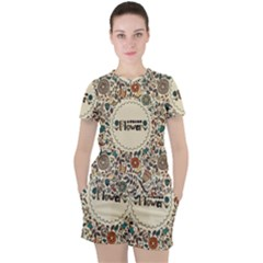 Seamless Pattern With Flower Birds Women s Tee And Shorts Set