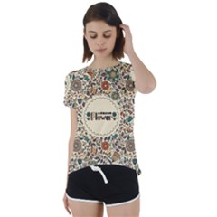 Seamless Pattern With Flower Birds Short Sleeve Foldover Tee