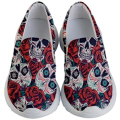 Vintage Day Dead Seamless Pattern Kids Lightweight Slip Ons