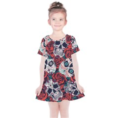 Vintage Day Dead Seamless Pattern Kids  Simple Cotton Dress