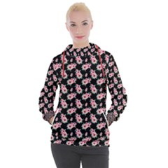 Floral Print Women s Hooded Pullover by Saptagram