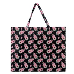 Floral Print Zipper Large Tote Bag