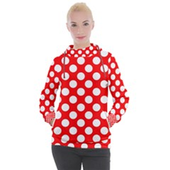 Large White Polka Dots Pattern, Retro Style, Pinup Pattern Women s Hooded Pullover