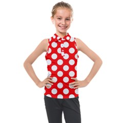 Large White Polka Dots Pattern, Retro Style, Pinup Pattern Kids  Sleeveless Polo Tee