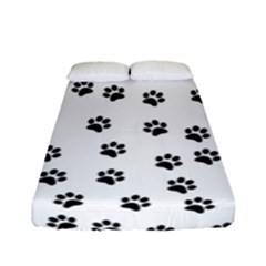 Dog Paws Pattern, Black And White Vector Illustration, Animal Love Theme Fitted Sheet (full/ Double Size)
