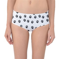 Dog Paws Pattern, Black And White Vector Illustration, Animal Love Theme Mid-waist Bikini Bottoms