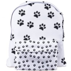 Dog Paws Pattern, Black And White Vector Illustration, Animal Love Theme Giant Full Print Backpack by Casemiro