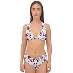 Vector Roses Pattern,red Flowers And Black Branches, Asymmetric Design Double Strap Halter Bikini Set