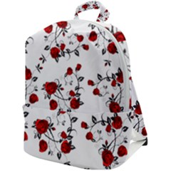 Vector Roses Pattern,red Flowers And Black Branches, Asymmetric Design Zip Up Backpack