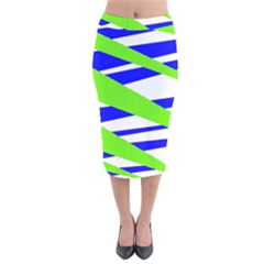 Abstract Triangles Pattern, Dotted Stripes, Grunge Design In Light Colors Velvet Midi Pencil Skirt by Casemiro