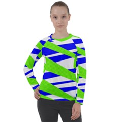 Abstract Triangles Pattern, Dotted Stripes, Grunge Design In Light Colors Women s Long Sleeve Raglan Tee