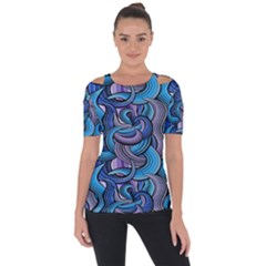 Blue Swirl Pattern Shoulder Cut Out Short Sleeve Top