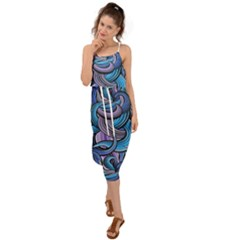 Blue Swirl Pattern Waist Tie Cover Up Chiffon Dress