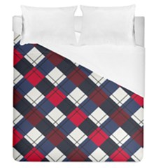 Checks Pattern Blue Red Duvet Cover (queen Size)