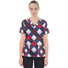 Checks Pattern Blue Red Women s V-neck Scrub Top