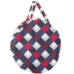 Checks Pattern Blue Red Giant Round Zipper Tote by designsbymallika