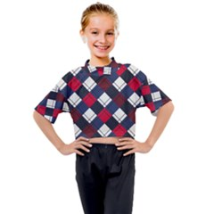 Checks Pattern Blue Red Kids Mock Neck Tee