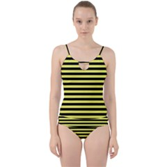 Wasp Stripes Pattern, Yellow And Black Lines, Bug Themed Cut Out Top Tankini Set