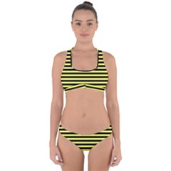 Wasp Stripes Pattern, Yellow And Black Lines, Bug Themed Cross Back Hipster Bikini Set by Casemiro